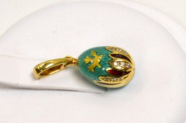 15: 18kyg Faberge Enamel Egg Pendant