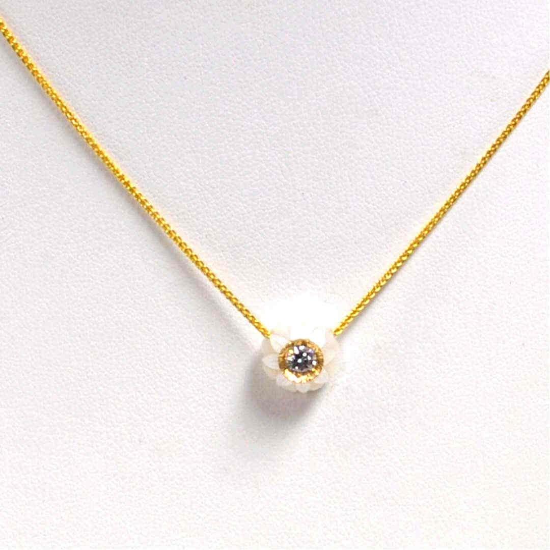 16: 14kyg Pearl & Diamond Necklace