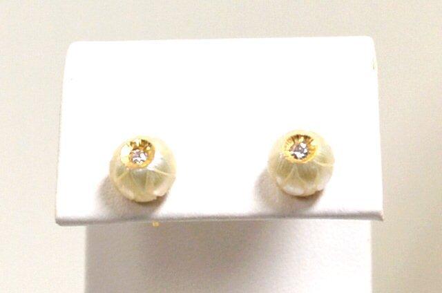 17: 14kyg Pearl & Diamond Earrings