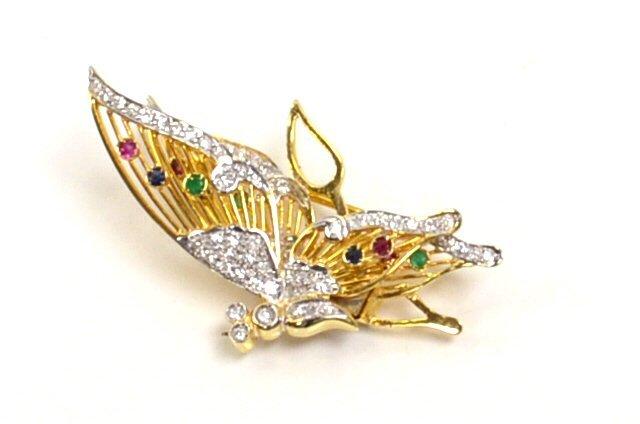 14kyg Diamond Butterfly Brooch