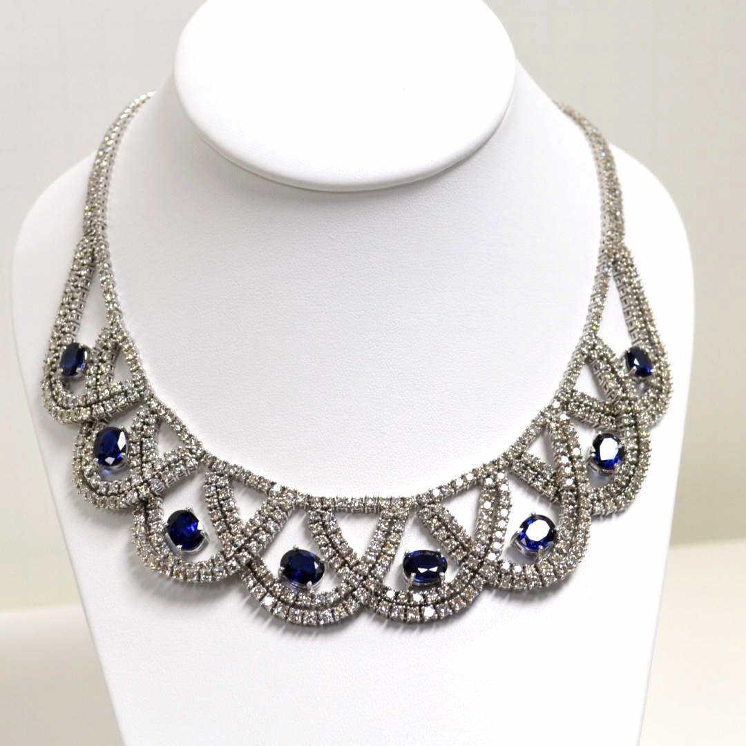 Platinum Blue Sapphire & Diamond Necklace