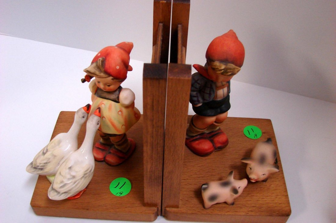Pair Hummel Bookends - Girl w/Geese; Boy w/Pigs