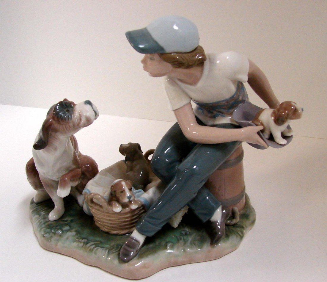 "Lladro Boy & Dog with Puppies ""This One's Mine"""