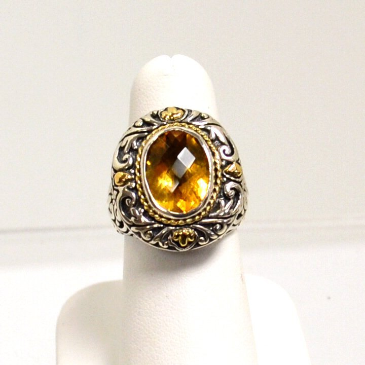 14k & Sterling Indo Citrine Ring