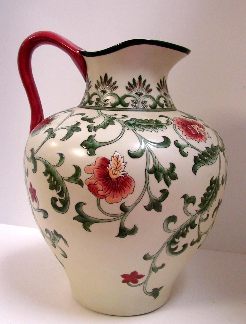 Flowered Handled Jug Signature Home Collection