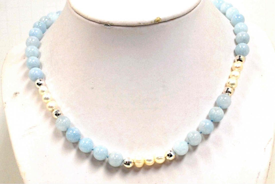 "24"" Natural Aquamarine Bead Necklace"