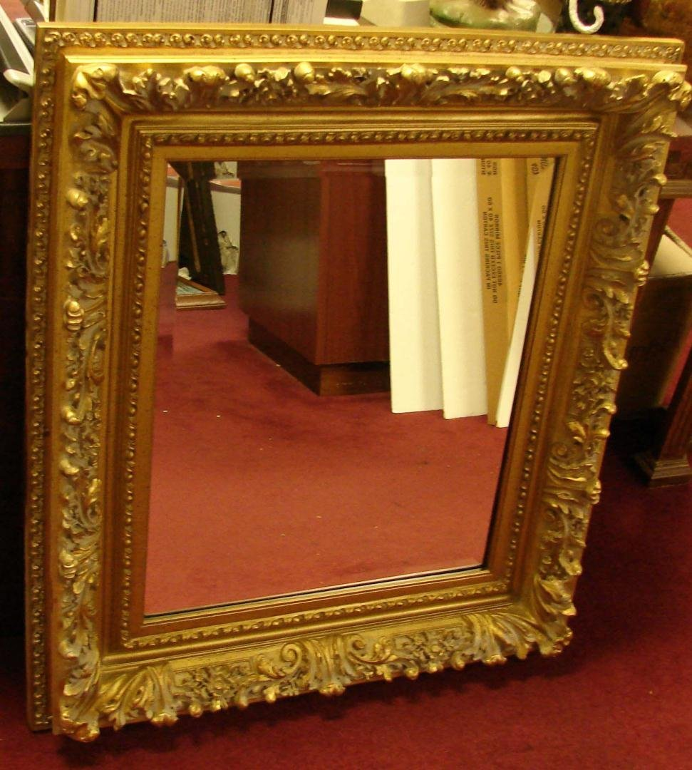 Vintage Ornate Heavy Gold Frame Beveled Mirror
