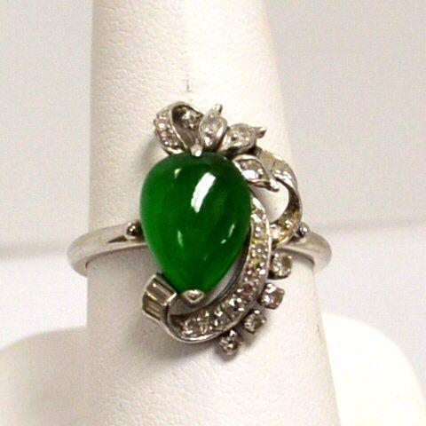 14kwg Green Jade & Diamond Ring