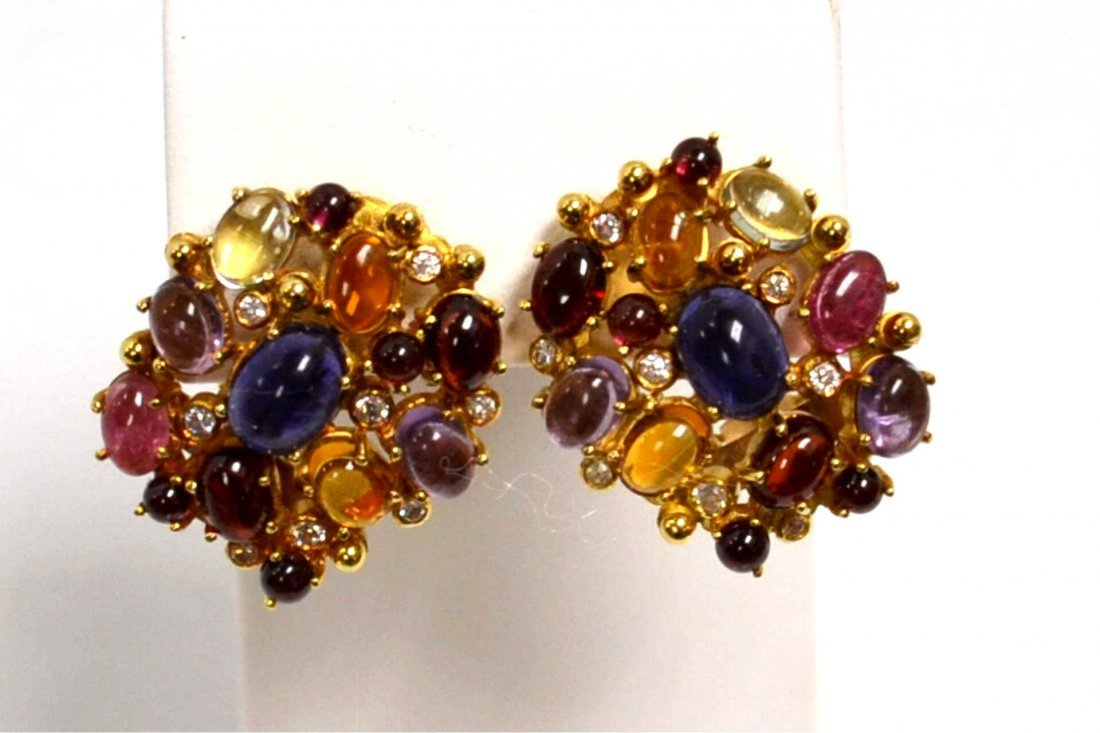 14kyg Colored Stone & Diamond Earrings