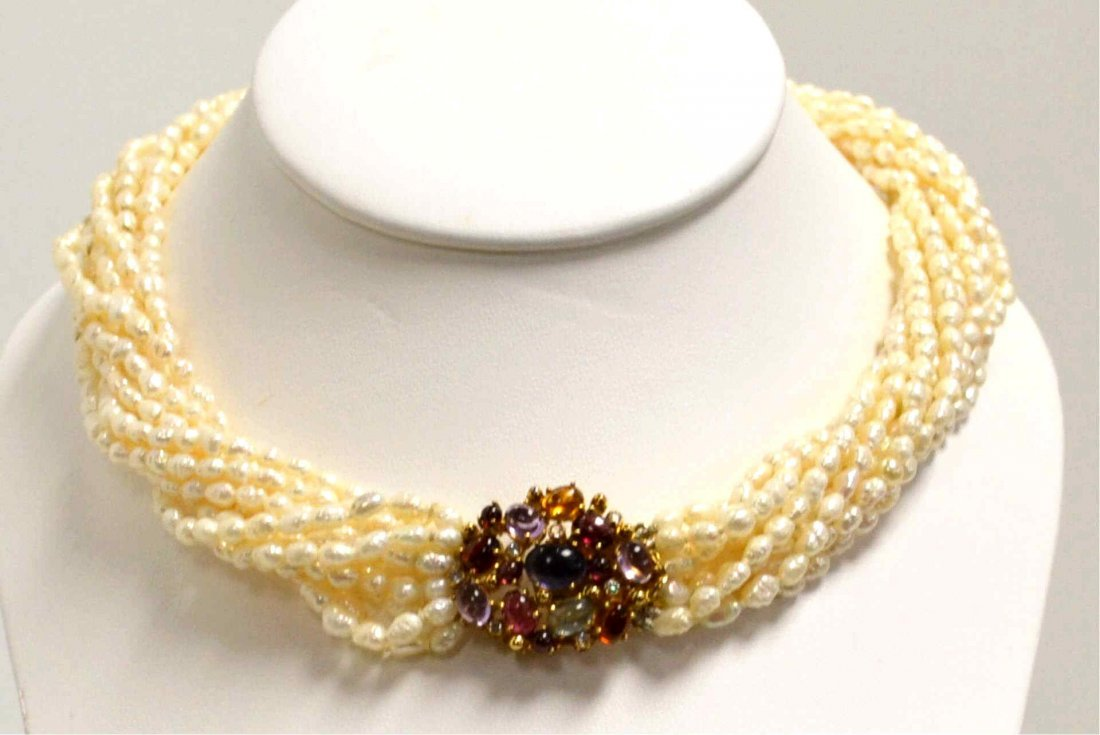 Pearl Necklace with Colored Stone Clasp