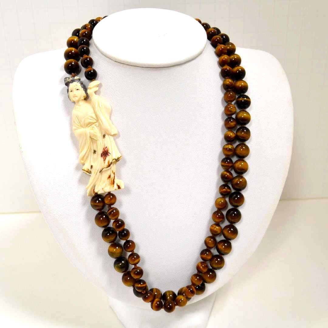 Tiger Eye Necklace With Ivory Figurine