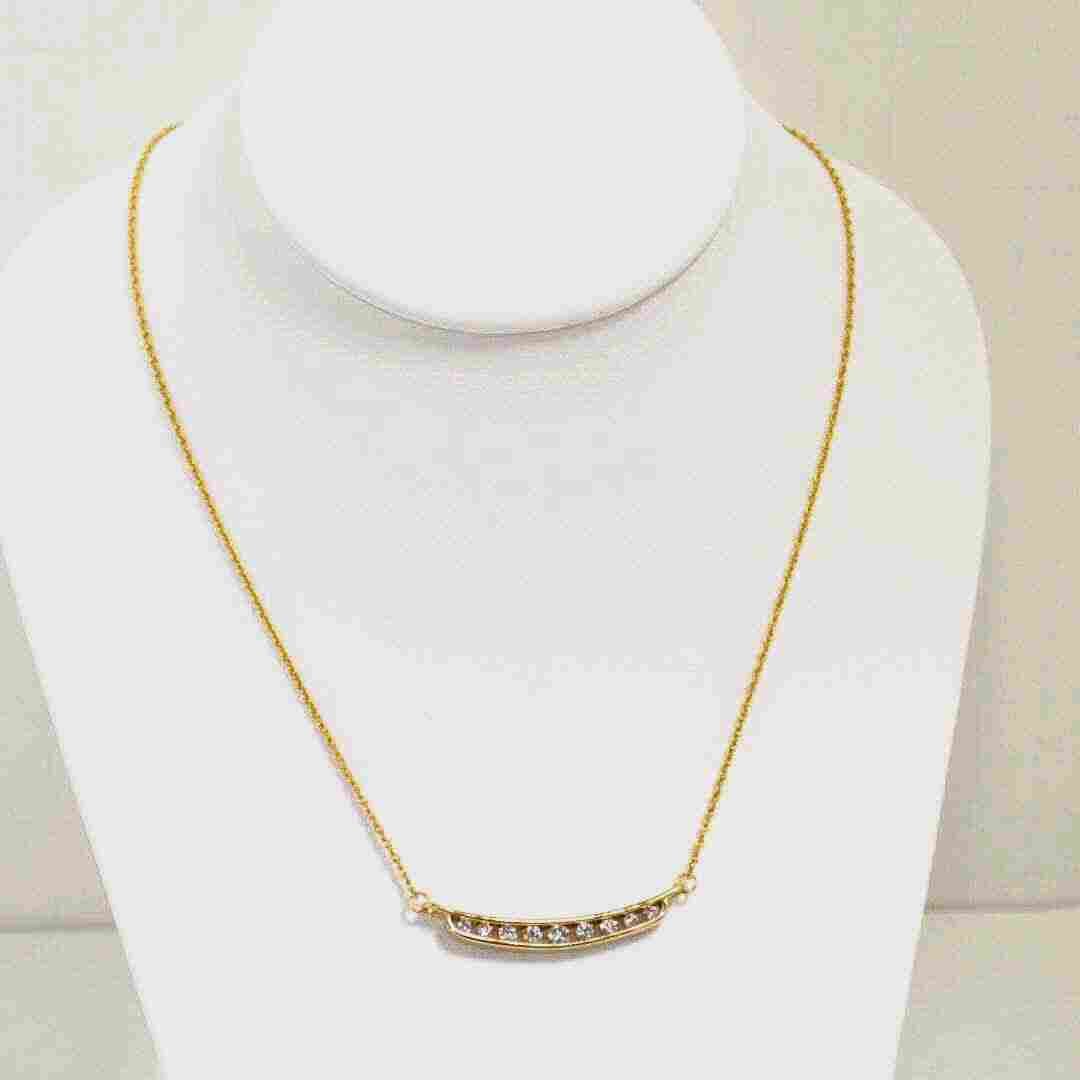 14kyg Diamond Bar Necklace .70ctw