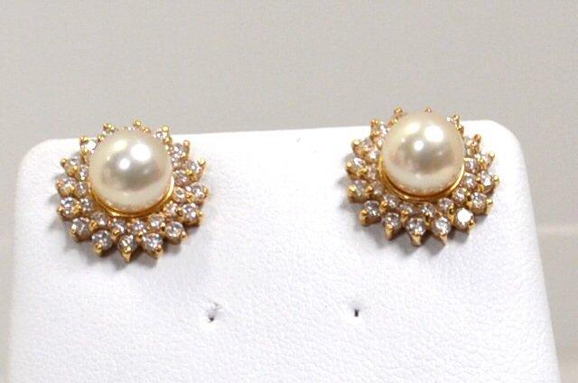 14kyg Diamond Pearl Earrings