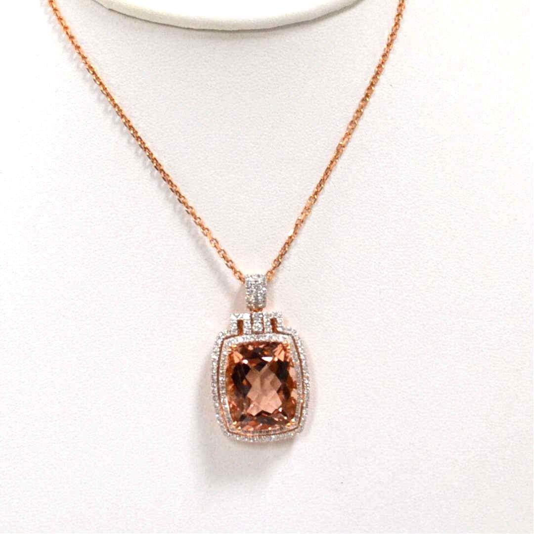 14k Rose Gold Morganite & Diamond Necklace