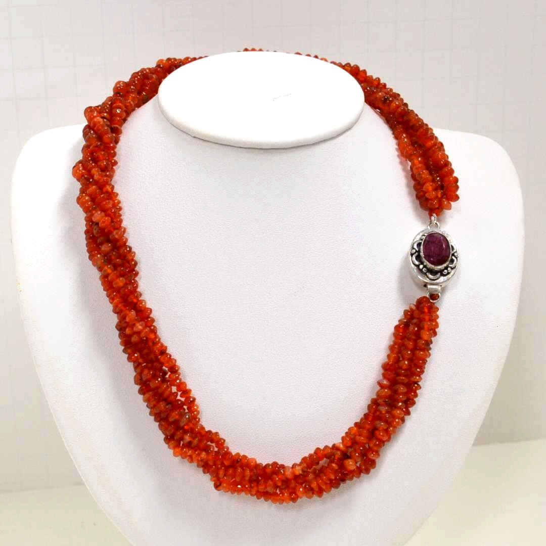 5 Strand Natural Carnelian Necklace