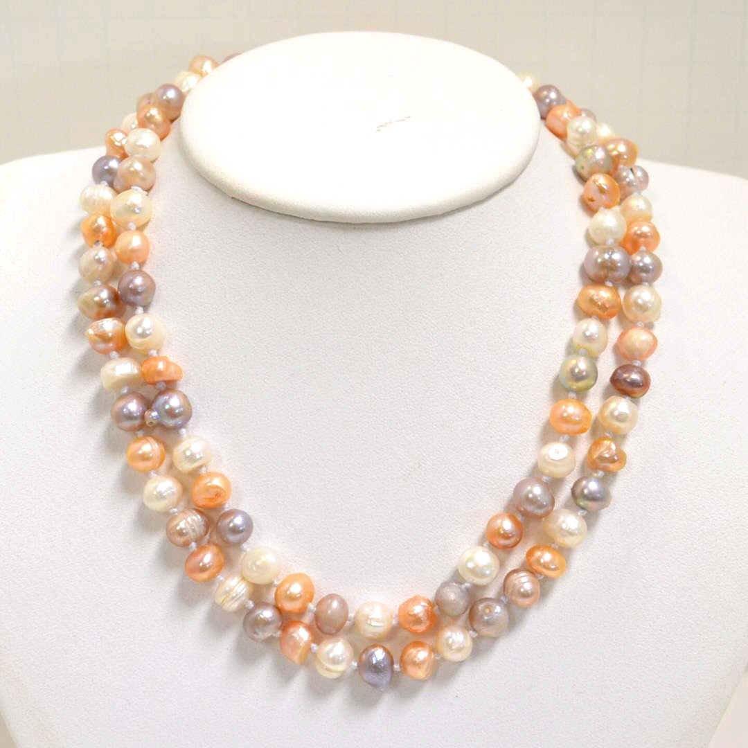 "60"" Strand freshwater Pearls & Earrings"