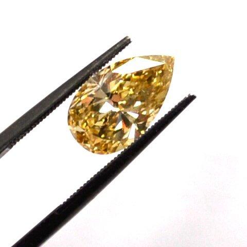 2.14ct  Fancy Yellow Pear Diamond GIA