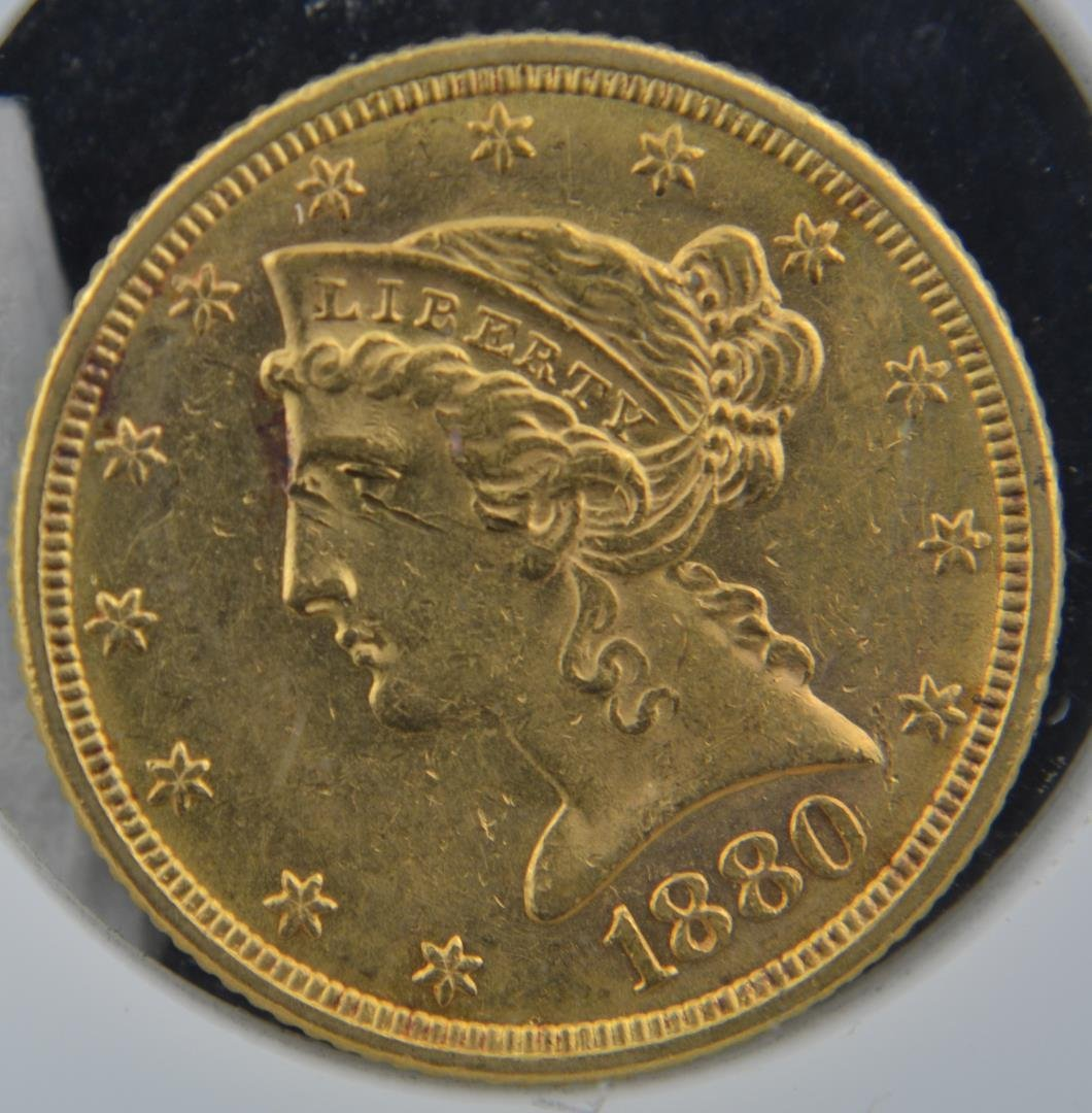 1880 $5 Liberty Head Gold Half Eagle AU