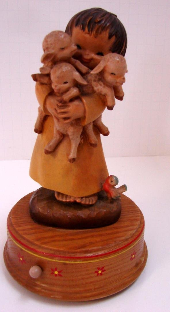 Reuge Carved Wooden Music Box - Child w/Lambs