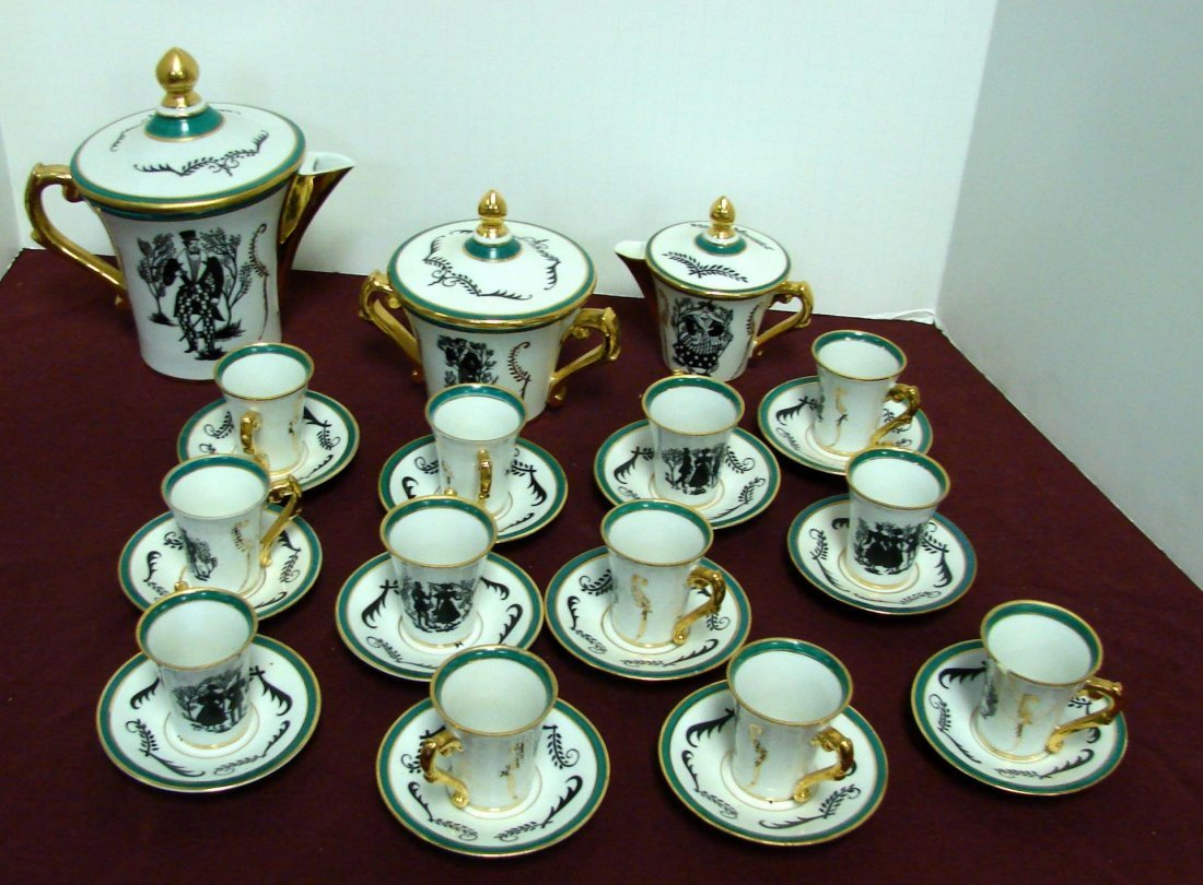 "Vintage French Demi-Tasse Set ""Silhouettes 1836"""