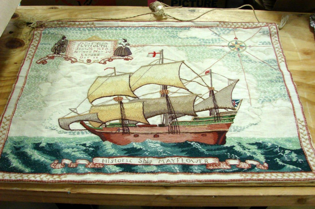 Antique Embroidered Tapestry of the Mayflower