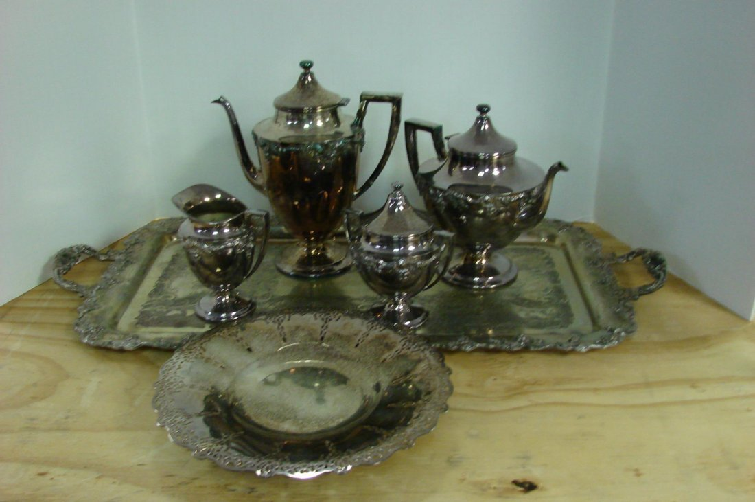 Vintage Silver Plate Tea Set wTray Grape Design