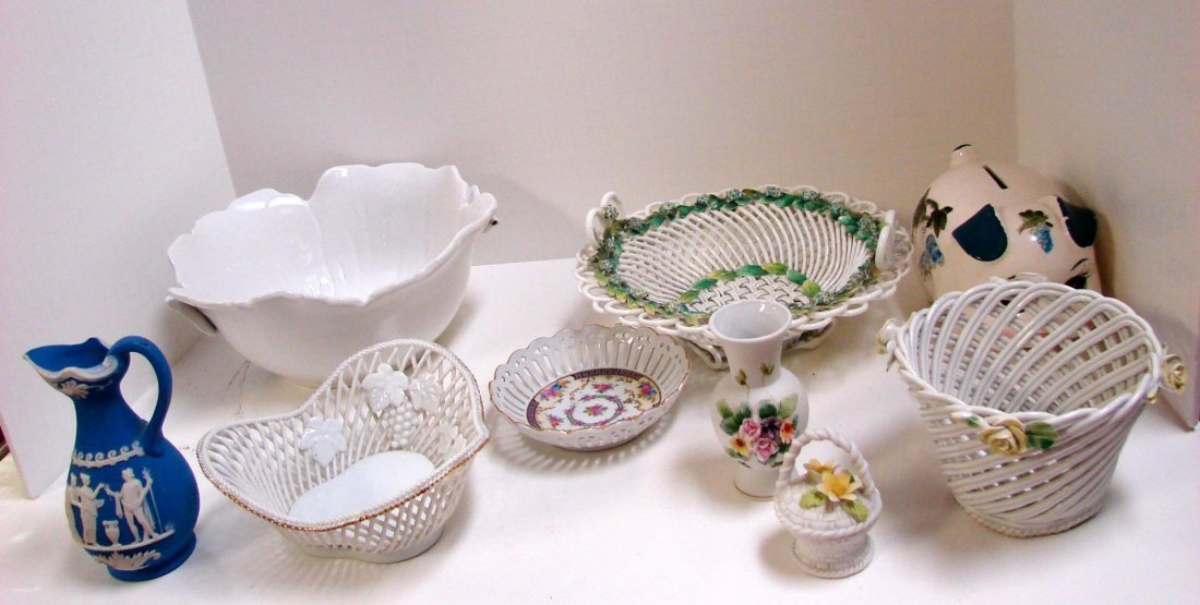 Assorted pcs. Italian Basket Weave Pottery