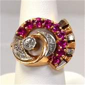 14k Rose Gold Art Deco Ruby  Diamond Ring