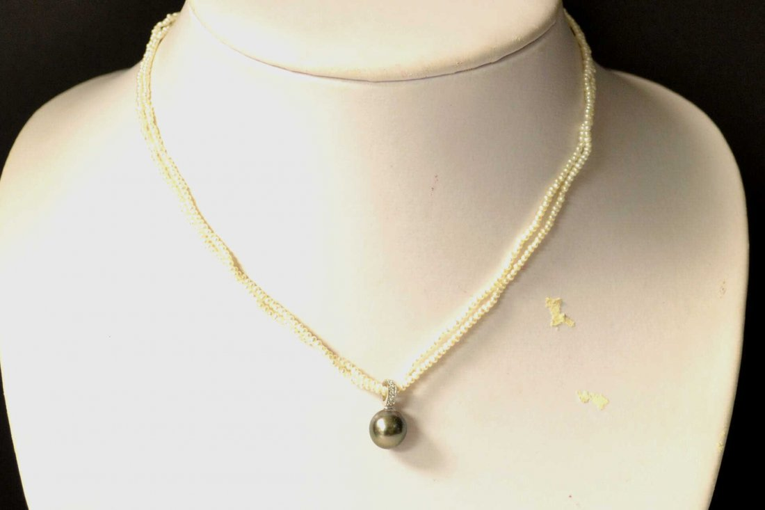 Seed Pearl Necklace with Black Tahitian Pearl