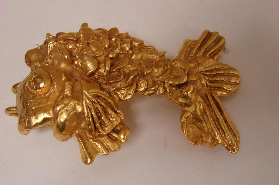 Kenneth Lane Gold Tone Fish Belt Buckle