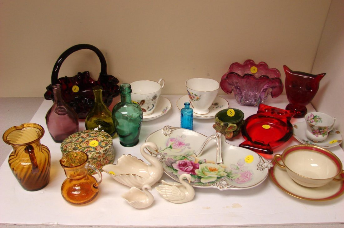 Lot of Vintage Glassware, Tea cups, coasters, etc.
