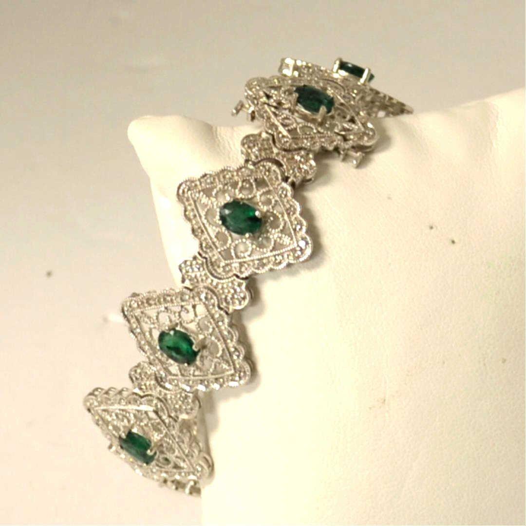 14kwg Emerald & Diamond Bracelet