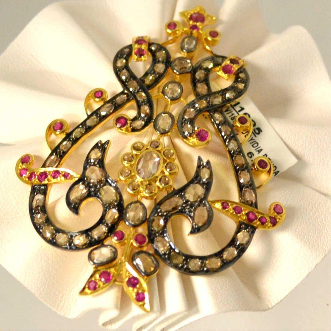 18kyg Rosecut Diamond & Ruby Pendant