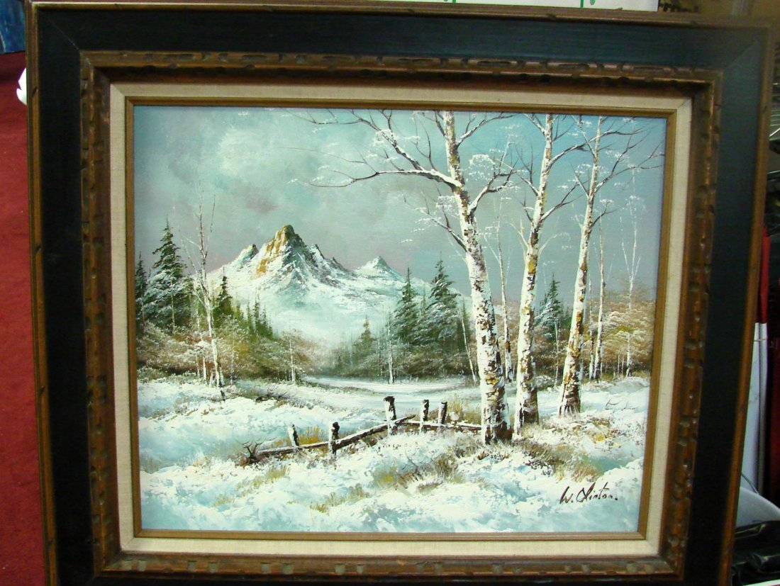 Framed Oil Painting - Winter Scene by W. Clinton