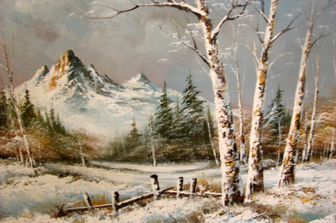 Framed Oil Painting - Winter Scene by W. Clinton - 2