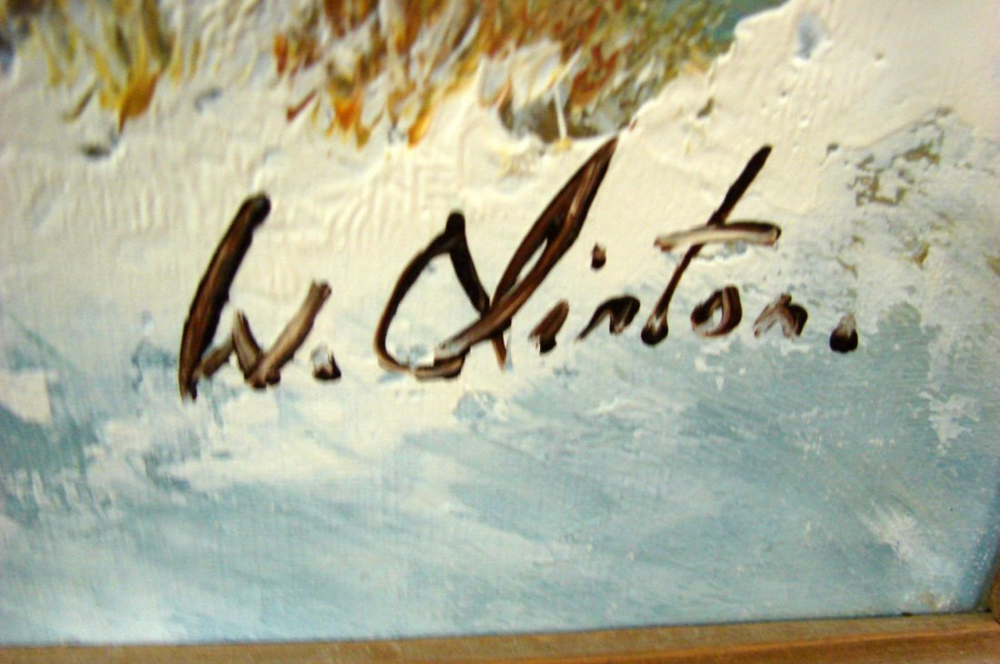 Framed Oil Painting - Winter Scene by W. Clinton - 3