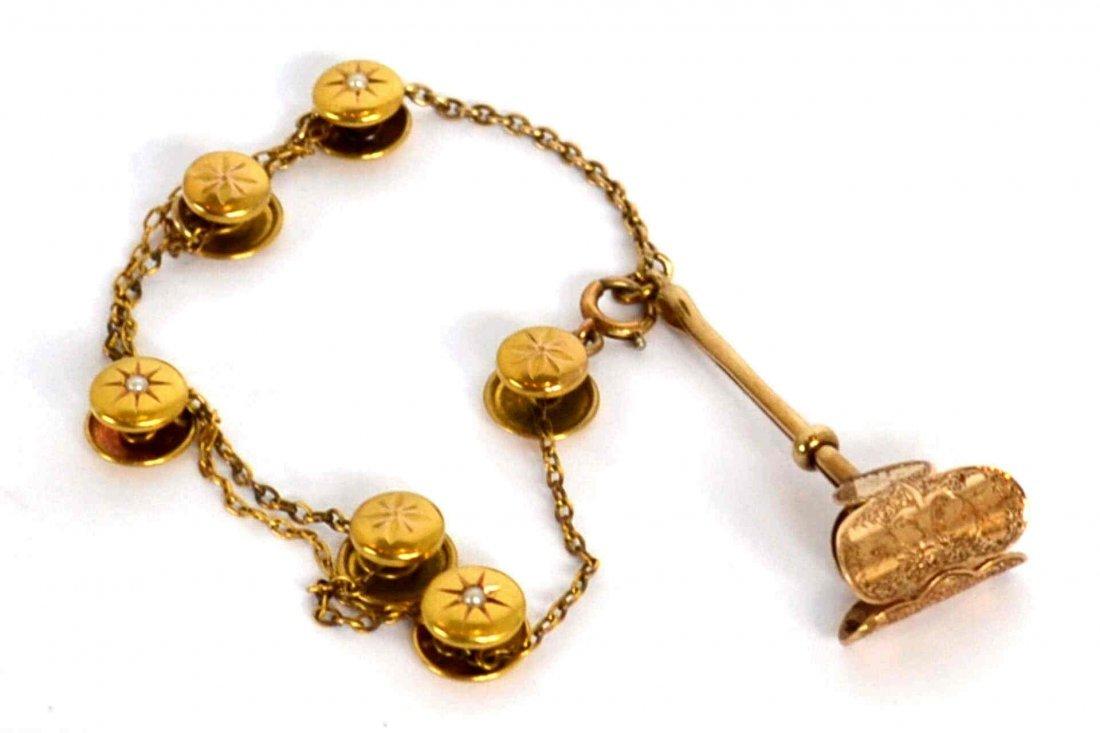 Antique 14kyg Bracelet with Scarf Holder