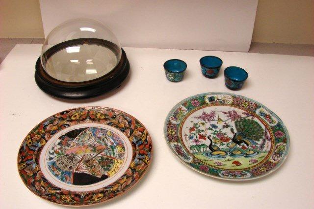 3 Chinese Cloisonné Cups, 2 Antique Plates +