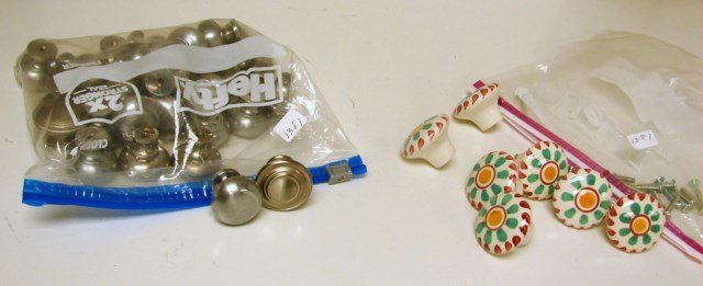 Brushed Nickel Cabinet Knobs, Hand Painted Knobs