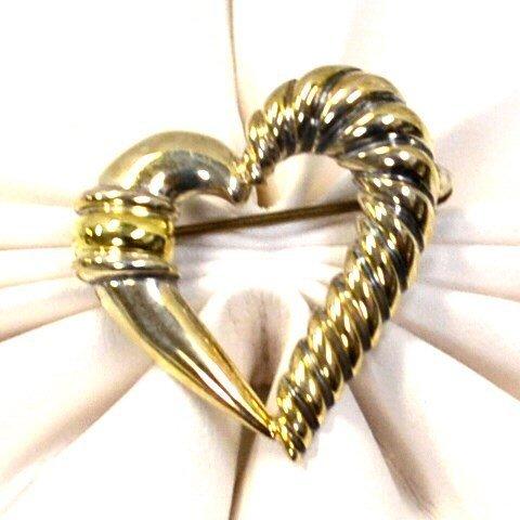 14k & Sterling David Yurman Heart Pin