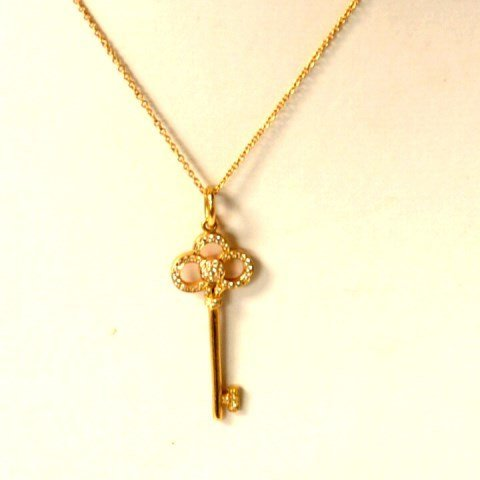 18k Rose Gold Diamond Key Pendant Tiffany & Co