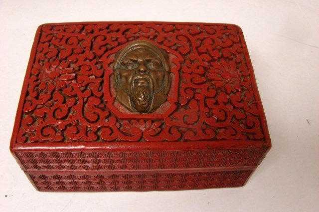 Antique Cinnabar Carved Square Covered Box