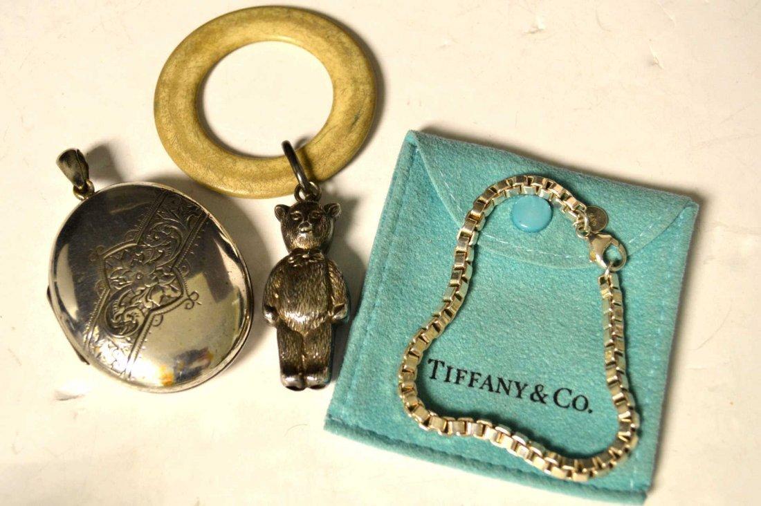 Silver Victorian Locket, Rattle & Tiffany Bracelet