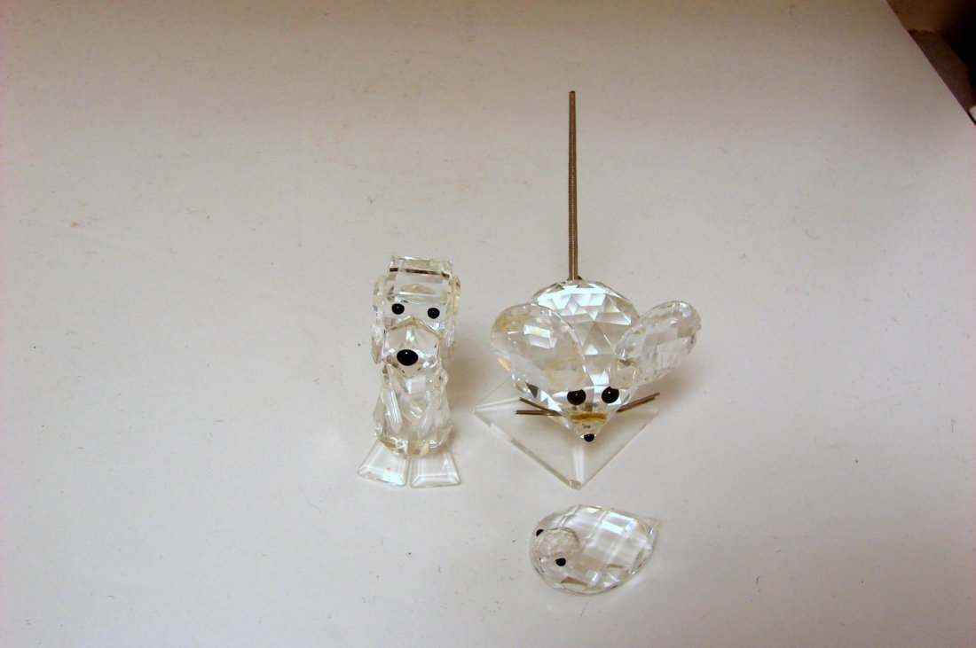 Swarovski Large Mouse, Standing Dog, Small Duck