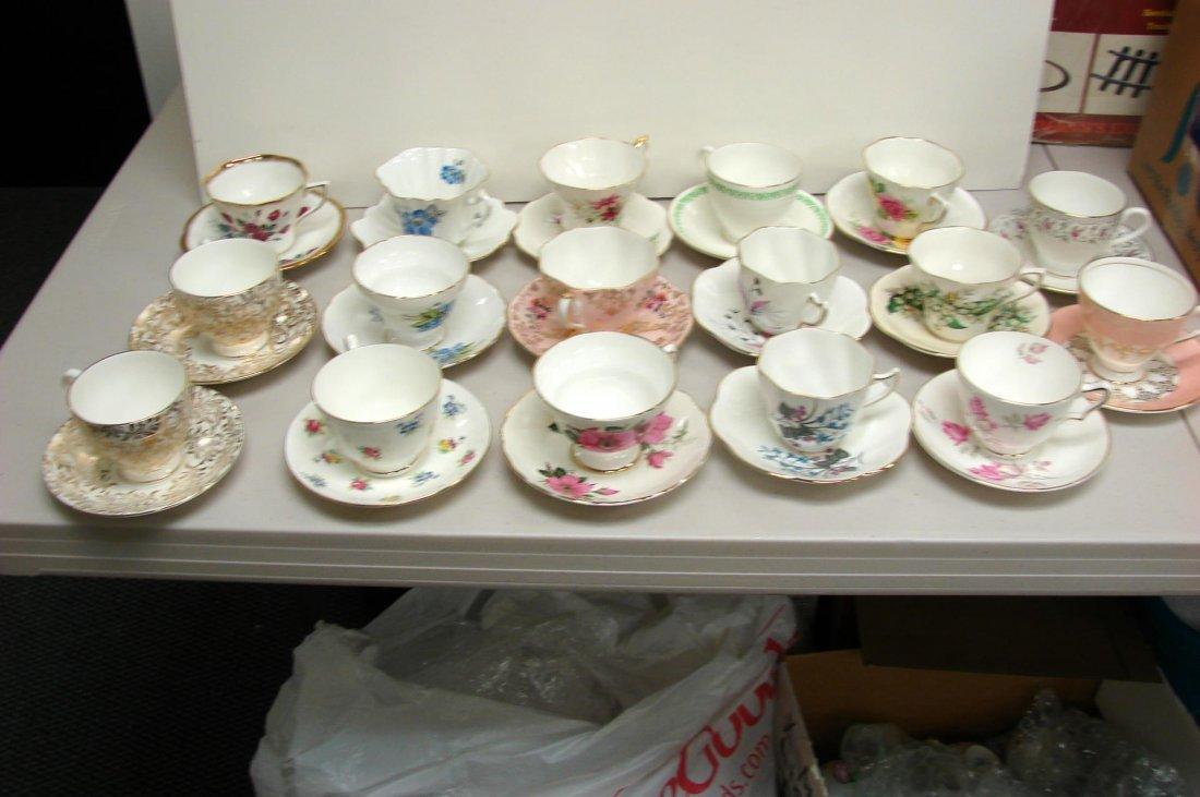 17 sets of English Bone china Teacups & Saucers