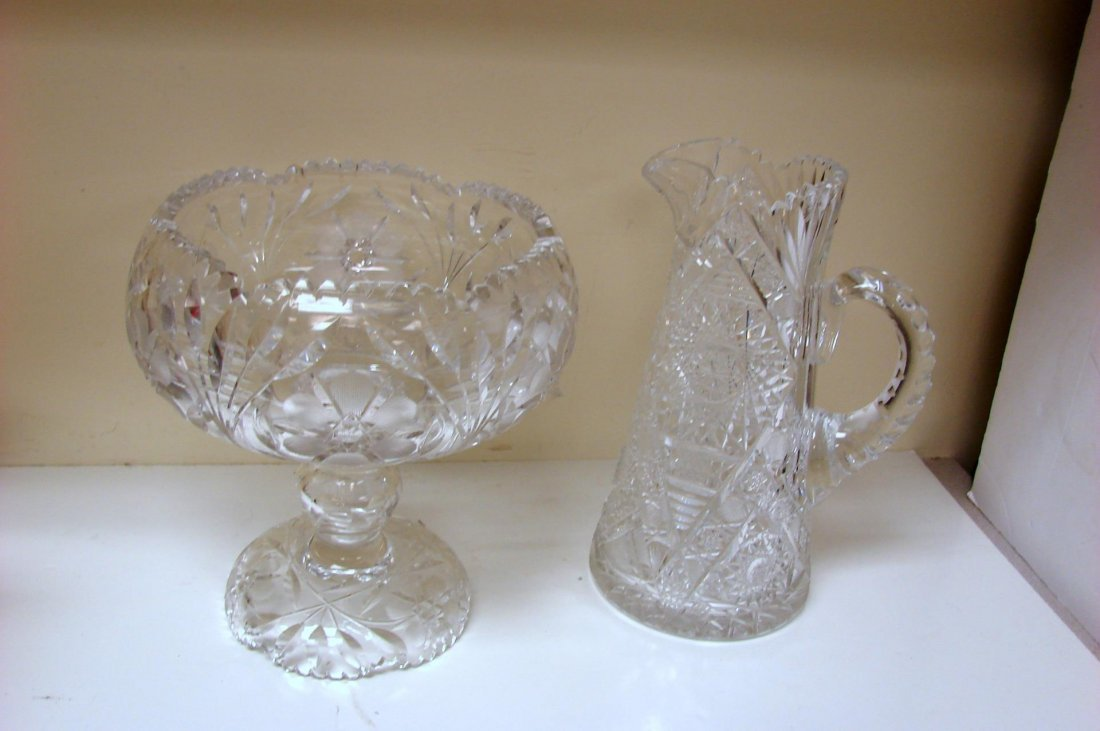 Heavy 2 pcs. Crystal Punch Bowl, Crystal Pitcher