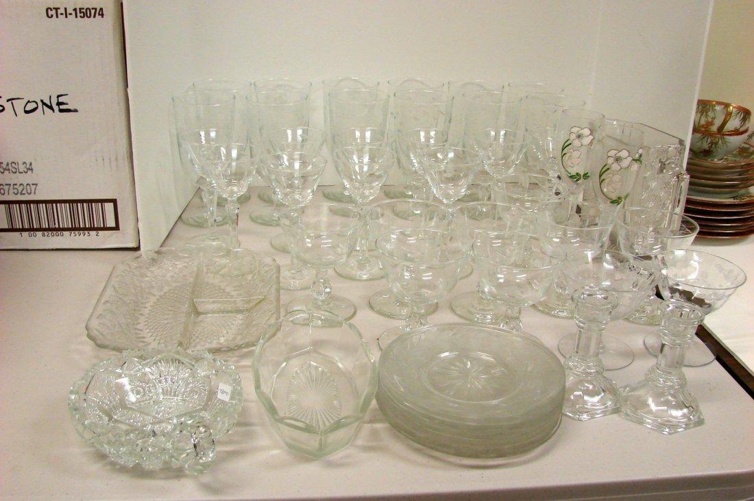 Lot of 34 Vintage Etched Glasses, plates, etc.
