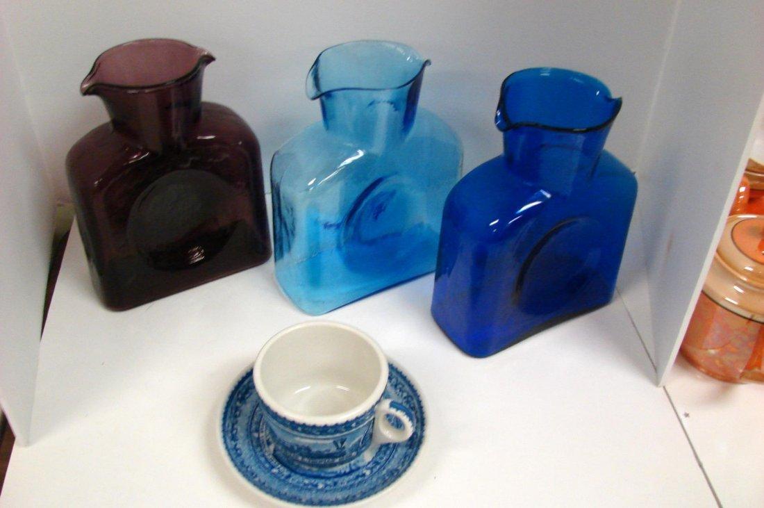 3 Blenko Vases, B&O Railroad Cup & Saucer