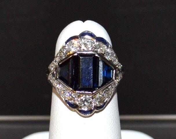 Vintage Platinum Blue Sapphire & Diamond Ring