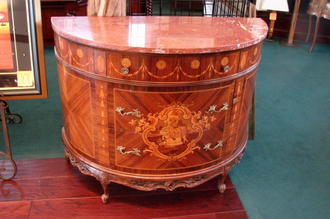 French Marquetry Inlay Demi-Lune Cabinet